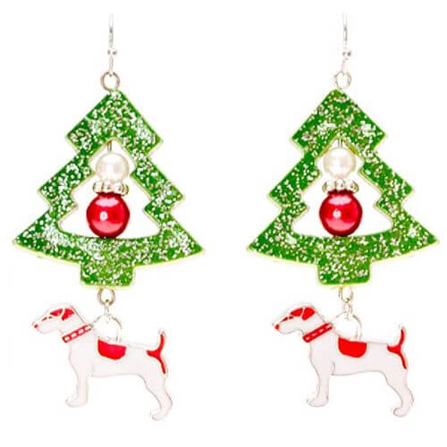 Dog and Christmas Tree Earrings