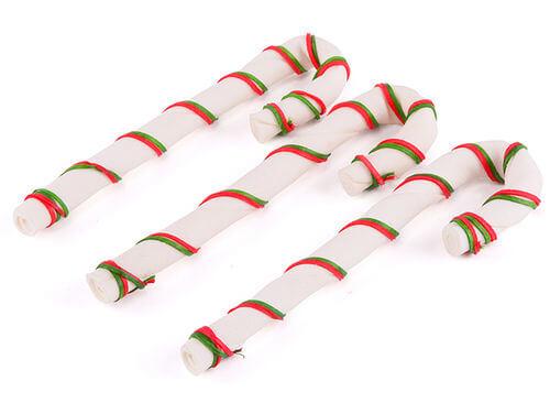 Kazoo Christmas Rawhide Cane 3pk