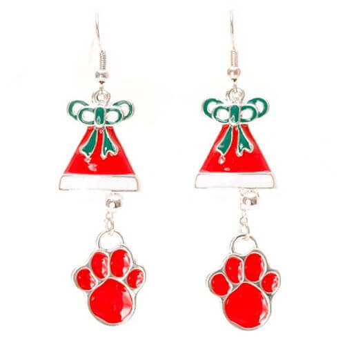 Red Paw and Bell Design Earrings