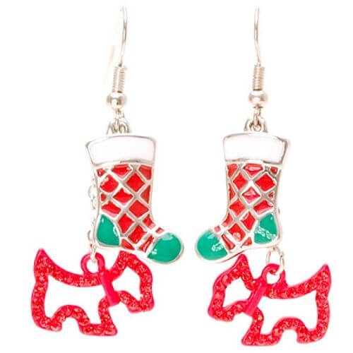 Red Terrier and Stocking Earrings