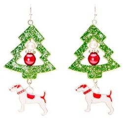 Dog & Christmas Tree Earrings