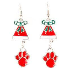Red Paw & Bell Earrings
