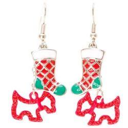 Red Terrier & Stocking Earrings